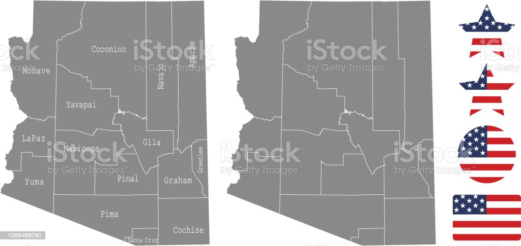 Map Of Arizona By County.Arizona County Map Vector Outline In Gray Background Arizona State