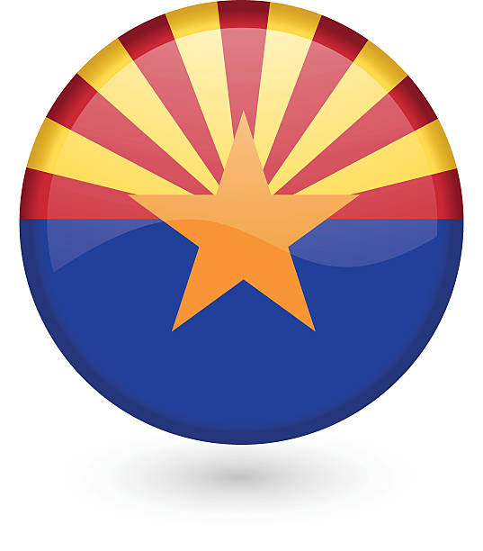 Arizona flag button vector art illustration