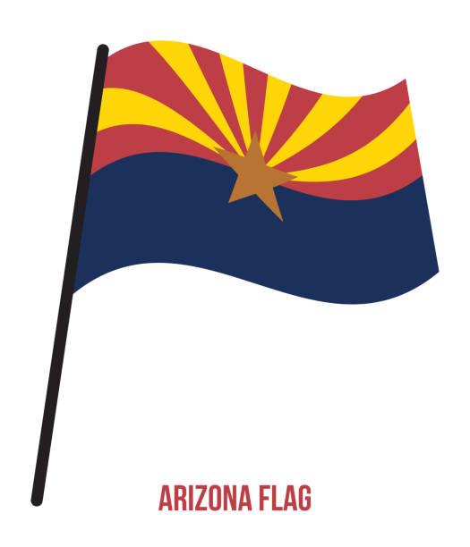 Arizona (U.S. State) Flag Waving Vector Illustration on White Background. Flag of the United States of America. vector art illustration