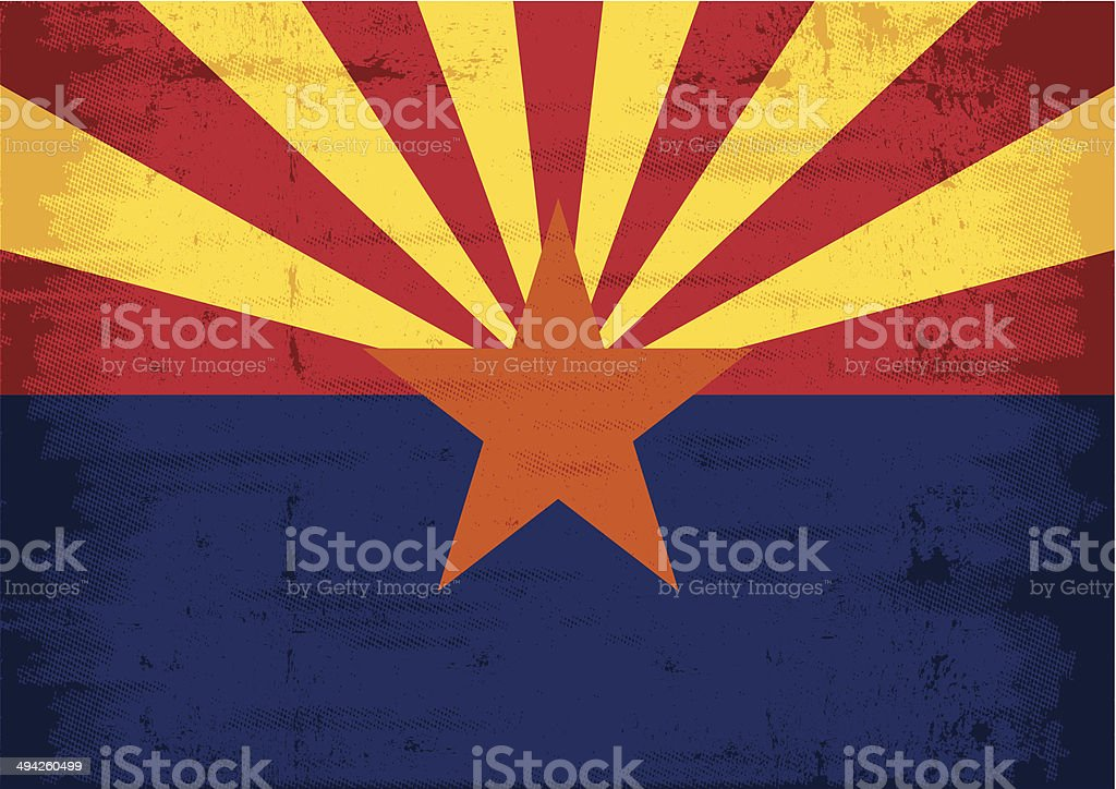 Arizona grunge flag vector art illustration