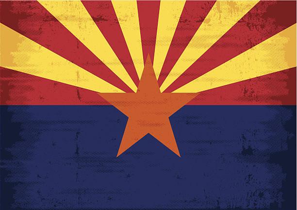 ilustrações, clipart, desenhos animados e ícones de bandeira de grunge do arizona - texturas desgastadas