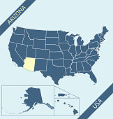 Highly detailed map of United States of America with highlighted state of Arizona for web banner, mobile app, and educational use. The map is accurately prepared by a map expert.