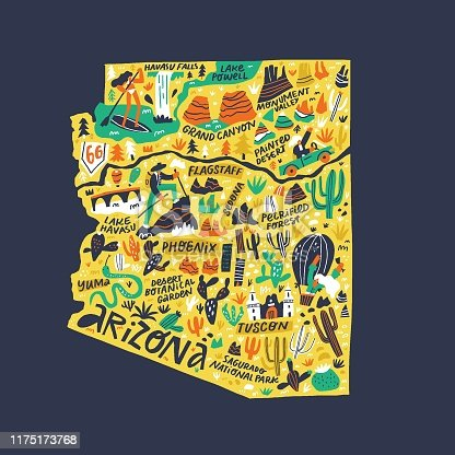 Arizona infographic flat hand drawn vector illustration. American state comic doodle map isolated on dark blue background. Arizona travel routes, landmarks with city names lettering cartoon cliparts