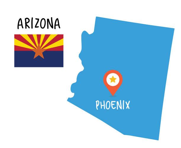 Arizona Map and Flag vector art illustration