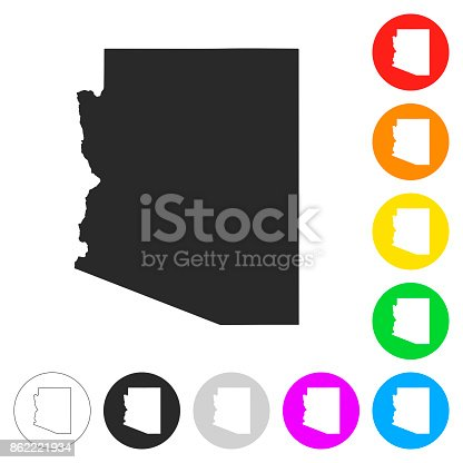 Map of Arizona isolated on white background. Includes 9 buttons with a flat design style for your design, in different colors (red, orange, yellow, green, blue, purple, gray, black, white, line art), each icon is separated on its own layer. Vector Illustration (EPS10, well layered and grouped). Easy to edit, manipulate, resize or colorize. Please do not hesitate to contact me if you have any questions, or need to customise the illustration. http://www.istockphoto.com/portfolio/bgblue