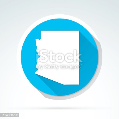 Map of Arizona on blue background. Trendy icon with a flat design style and a long shadow effect.