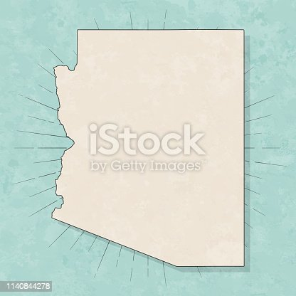 Map of Arizona in a trendy vintage style. Beautiful retro illustration with old textured paper and light rays in the background (colors used: blue, green, beige and black for the outline). Vector Illustration (EPS10, well layered and grouped). Easy to edit, manipulate, resize or colorize.