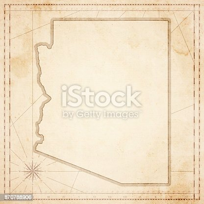 Map of Arizona in vintage style. Beautiful illustration of antique map on an old textured paper of sepia color. Old realistic parchment with a compass rose, lines indicating the different directions (North, South, East, West) and a frame used as scale of measurement.Vector Illustration (EPS10, well layered and grouped). Easy to edit, manipulate, resize or colorize. Please do not hesitate to contact me if you have any questions, or need to customise the illustration. http://www.istockphoto.com/portfolio/bgblue