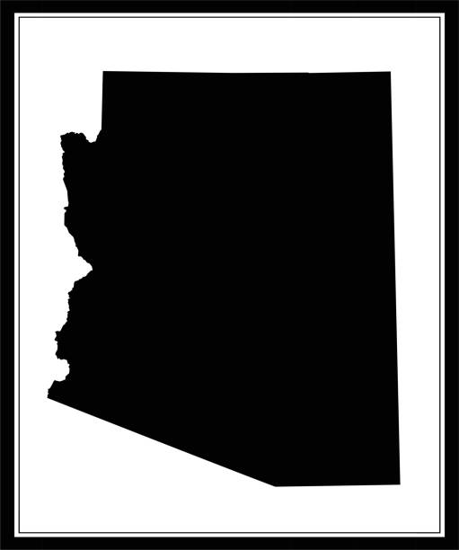 Arizona map outline silhouette printable Arizona state of United States of America map outline vector illustration image art. The map is accurately prepared by a map expert. temps stock illustrations