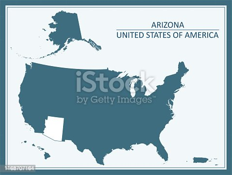 Arizona state of United States of America map outline vector illustration in a creative graphic design. The spatial locations of Hawaii, Alaska and Puerto Rico approximately represent their actual locations on the earth.
