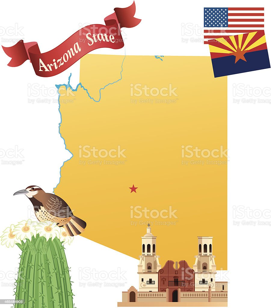Arizona Map vector art illustration
