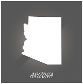 Arizona map vector outline cartography black and white illustration background