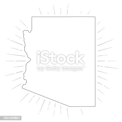 Map of Arizona created with a thin black outline and  light rays. Trendy and modern illustraion isolated on a blank background. Vector Illustration (EPS10, well layered and grouped). Easy to edit, manipulate, resize or colorize.