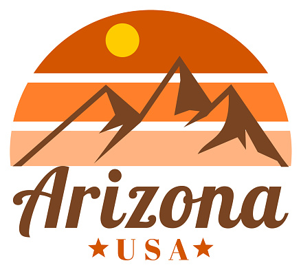 Retro Arizona sunset and mountain label