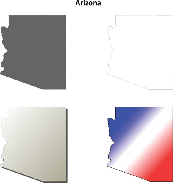 Arizona outline map set vector art illustration
