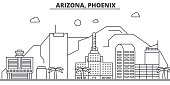 Arizona, Phoenix architecture line skyline illustration. Linear vector cityscape with famous landmarks, city sights, design icons. Landscape wtih editable strokes