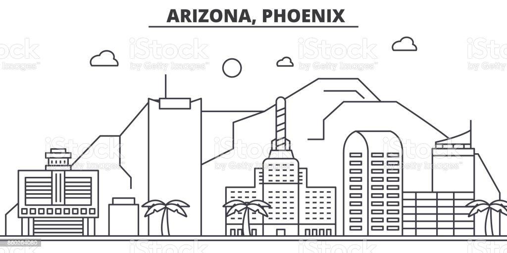 Arizona, Phoenix architecture line skyline illustration. Linear vector cityscape with famous landmarks, city sights, design icons. Landscape wtih editable strokes vector art illustration