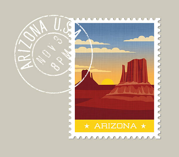 Arizona postage stamp. Desert valley with red sandstone buttes. Arizona postage stamp design. Vector illustration of scenic desert valley with sandstone buttes. Grunge postmark on separate layer rock formations stock illustrations