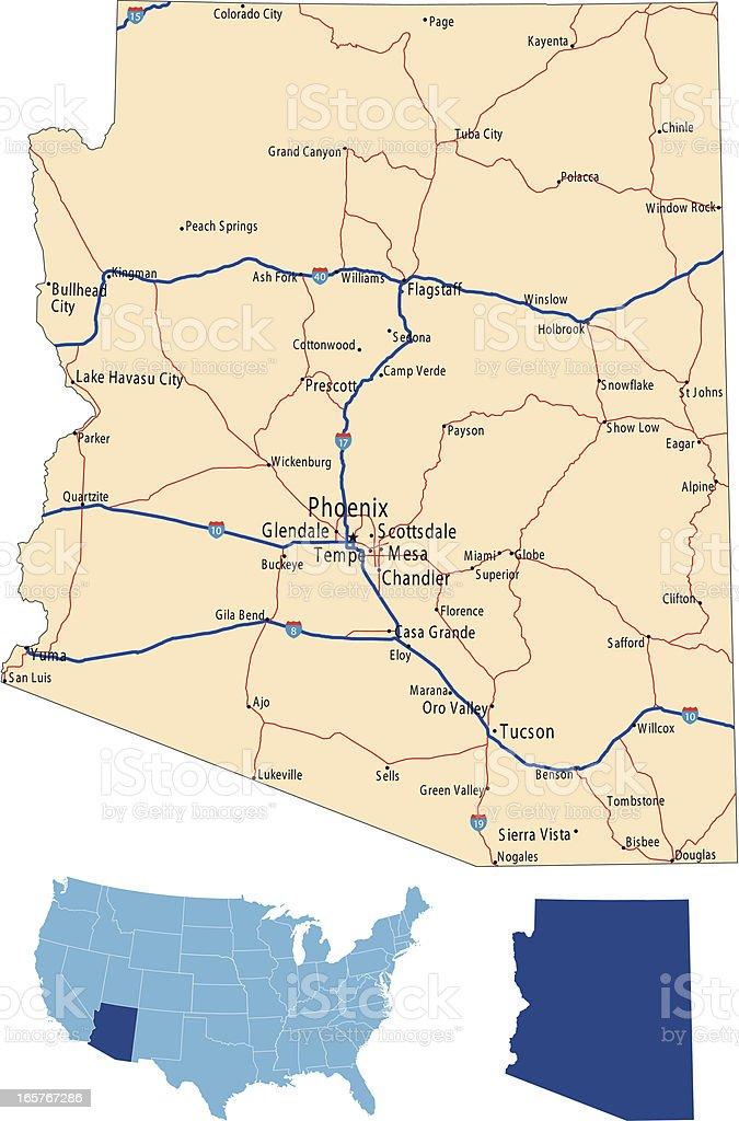 Arizona road map royalty-free stock vector art
