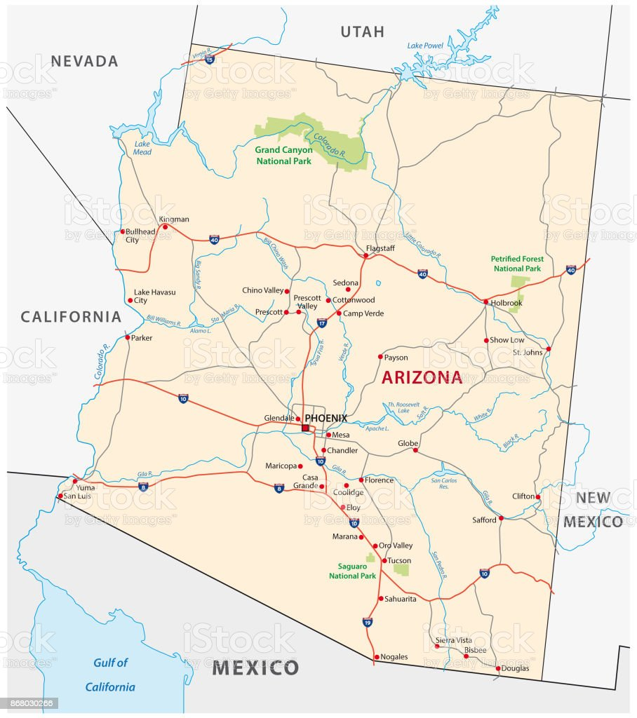 Arizona Road Map Stock Illustration - Download Image Now ...