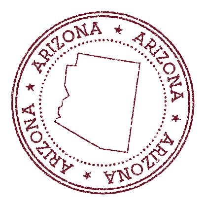 Arizona round rubber stamp with us state map.
