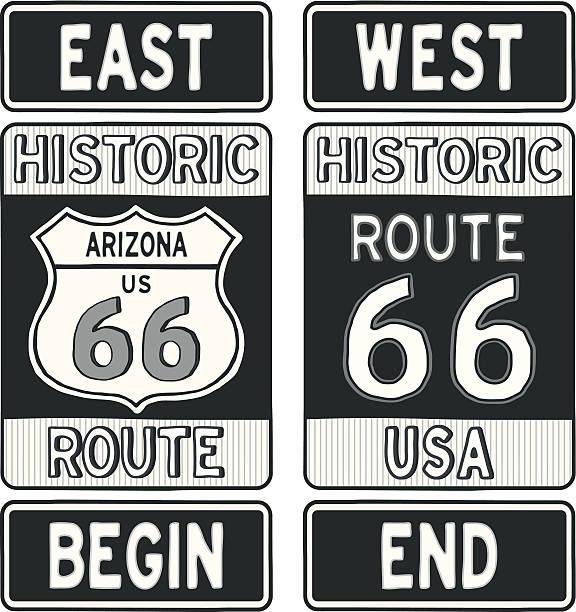 stockillustraties, clipart, cartoons en iconen met arizona route 66 road signs - arizona highway signs