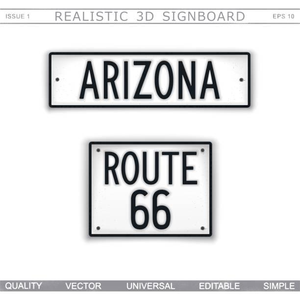 stockillustraties, clipart, cartoons en iconen met arizona. route 66 - arizona highway signs