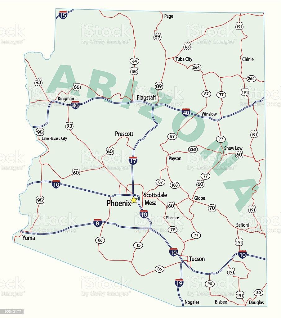 Arizona State Interstate Map vector art illustration
