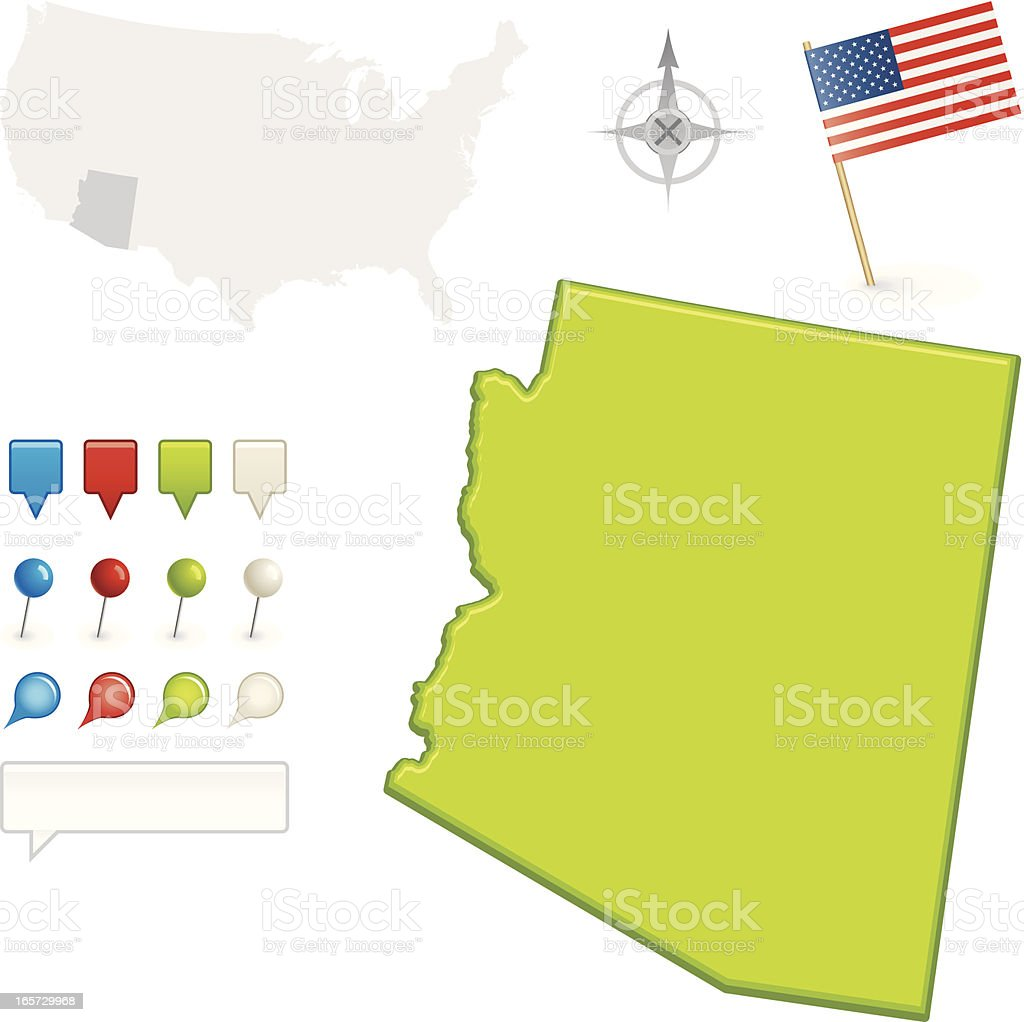 Arizona State Map royalty-free stock vector art