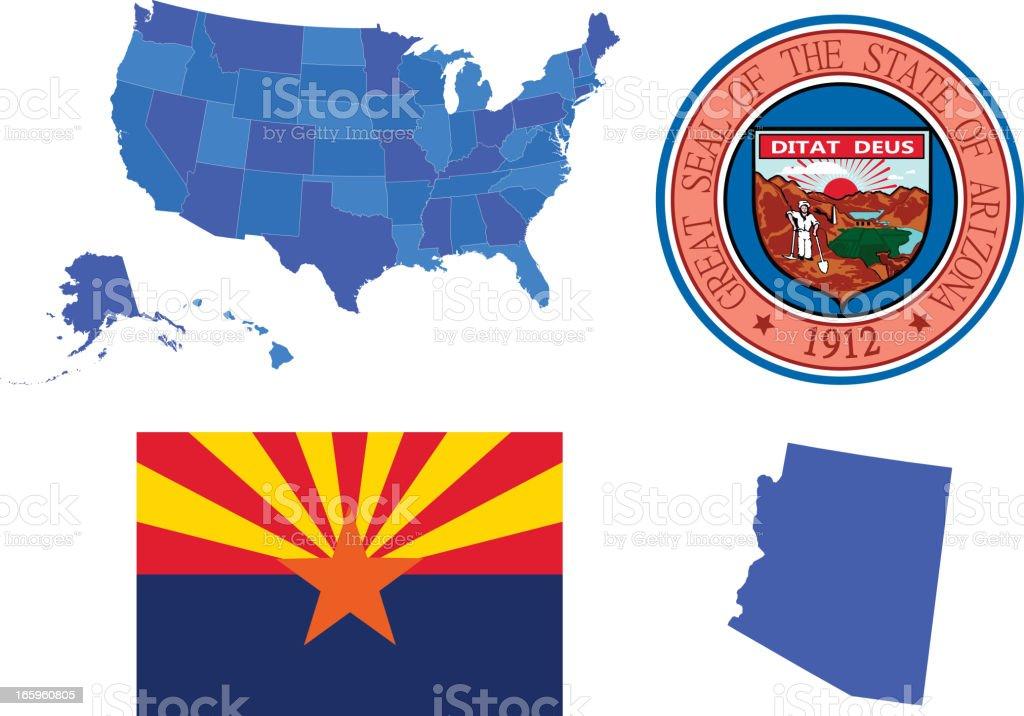 Arizona state set royalty-free stock vector art