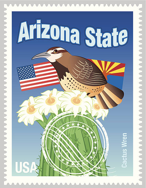 Arizona State Stamps vector art illustration