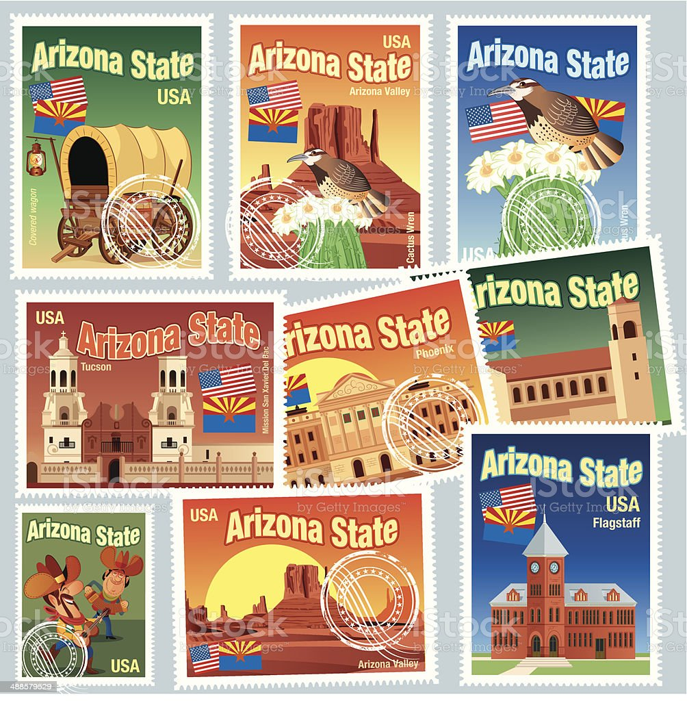 Arizona State Stamps vector art illustration