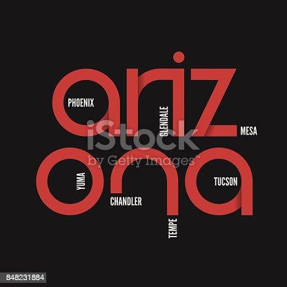 Arizona state. T-shirt and apparel vector design, print, typography, poster, emblem.