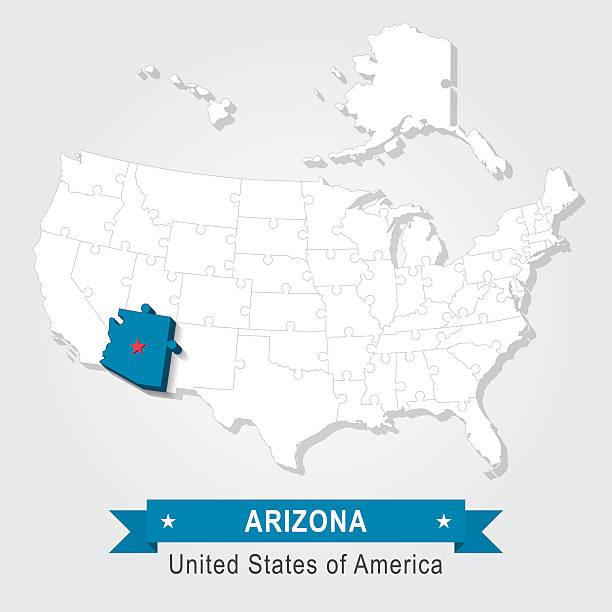D Usa State Map Arizona Clip Art Vector Images Illustrations - United states map arizona