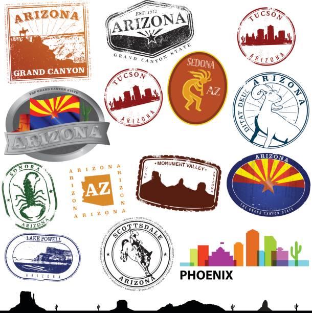 Arizona Travel Graphics Stylized Arizona travel Graphics lake powell stock illustrations