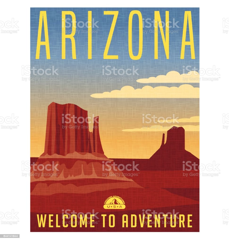 Arizona travel poster. Vector illustration of scenic desert landscape with buttes. royalty-free arizona travel poster vector illustration of scenic desert landscape with buttes stock illustration - download image now