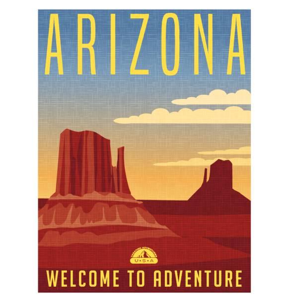 Arizona travel poster. Vector illustration of scenic desert landscape with buttes. Arizona travel poster. Vector illustration of scenic desert landscape with buttes. rock formations stock illustrations