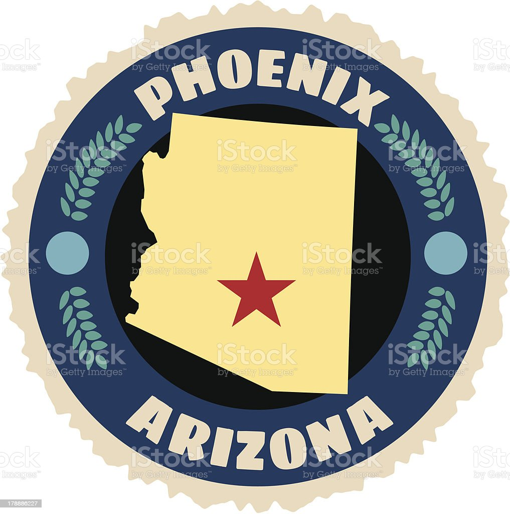Arizona travel sticker or luggage label royalty-free stock vector art