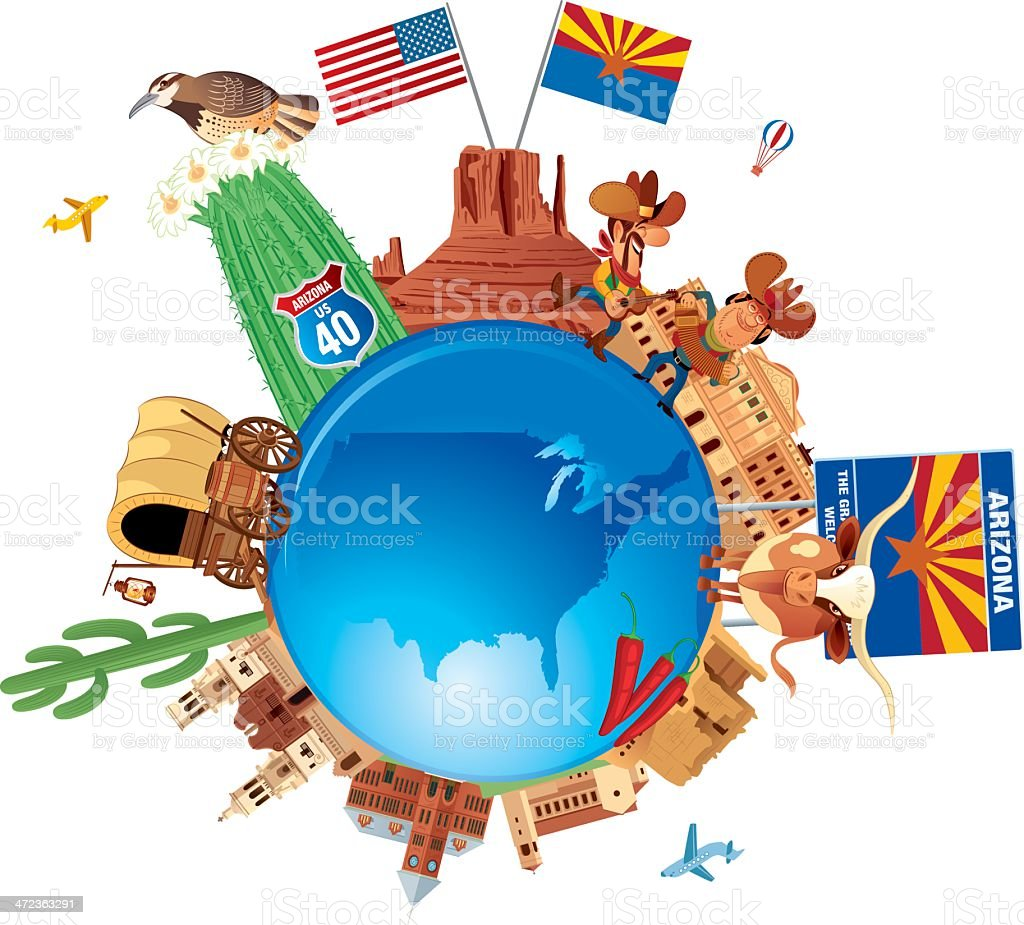 Arizona Travel Symbols vector art illustration