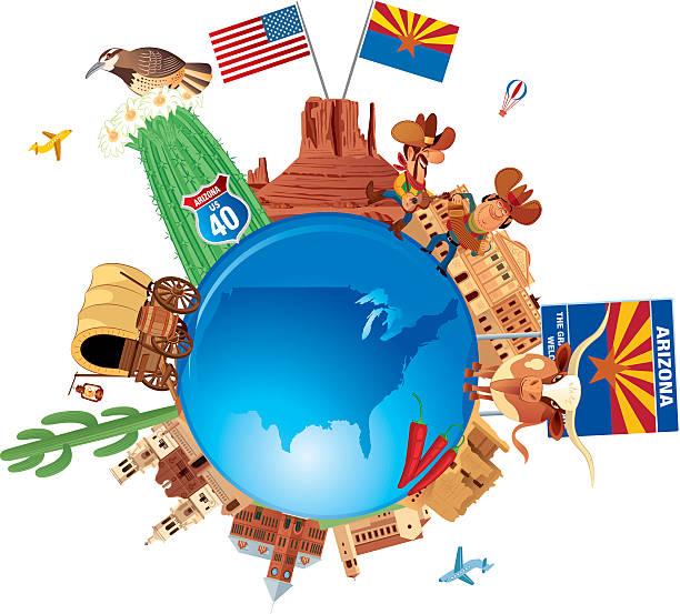 Arizona Travel Symbols vector art illustration
