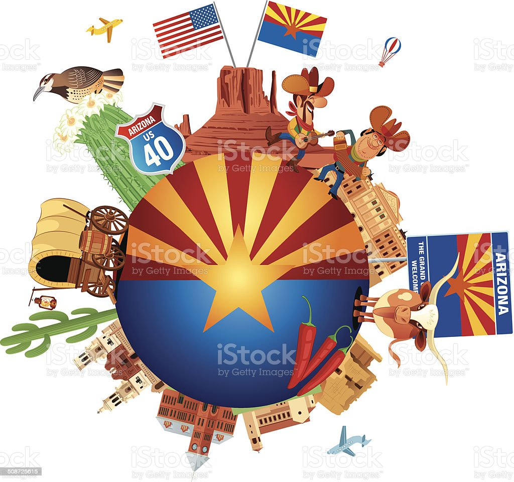 Arizona Travel vector art illustration