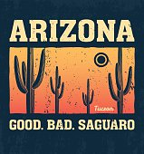 Arizona t-shirt design, print, typography, label with saguaro cactus