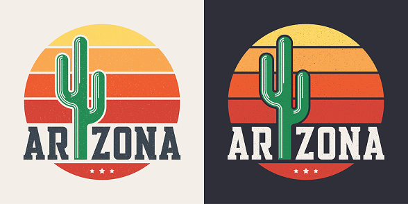 Arizona t-shirt design, print, typography, label with styled saguaro cactus and sun