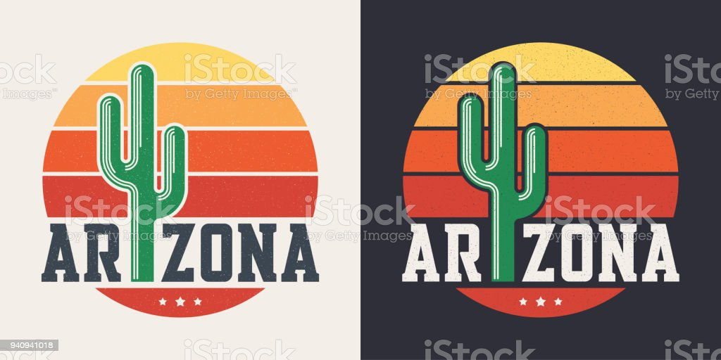 Arizona t-shirt design, print, typography, label with styled saguaro cactus and sun vector art illustration