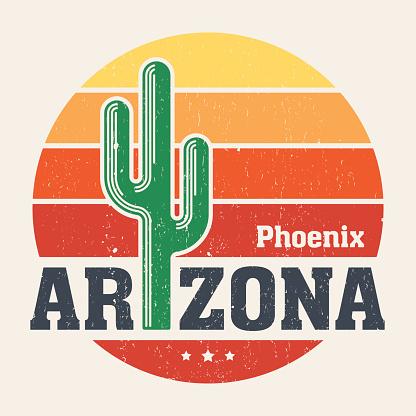 Arizona t-shirt design, print, typography, label with styled saguaro cactus