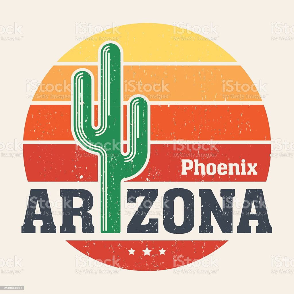 Arizona t-shirt design, print, typography, label with styled saguaro cactus vector art illustration