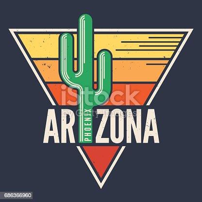 Arizona t-shirt design, print, typography, label with styled saguaro cactus. Vector illustration.