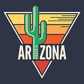 Arizona t-shirt design, print, typography, label with styled saguaro cactus.