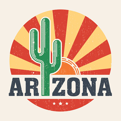 Arizona t-shirt design, print with styled saguaro cactus