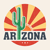 Arizona t-shirt design, print with styled saguaro cactus